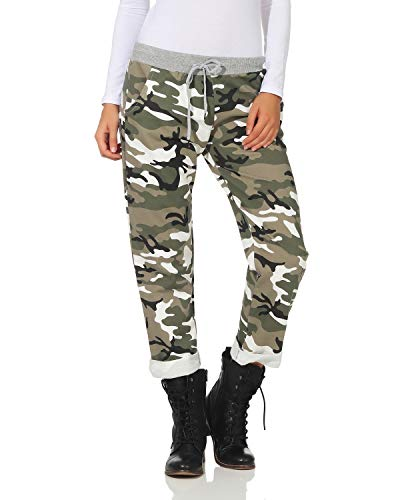 Zarmexx Damen Sweatpants Baggy Hose Boyfriend Freizeithose Sporthose All-Over Roses Print One Size