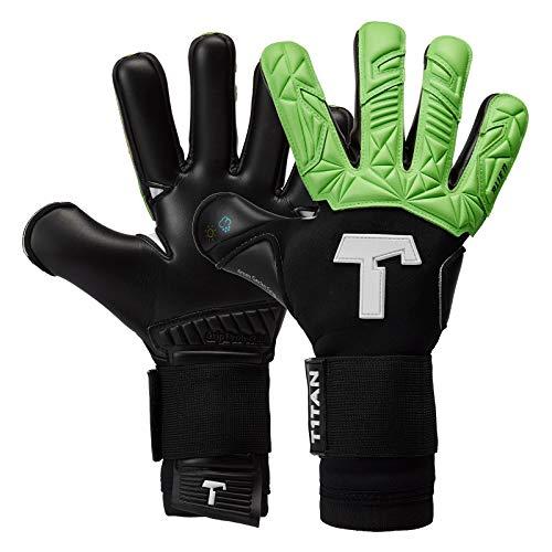 T1TAN Alien Black & Green Torwarthandschuhe für Erwachsene, Fußballhandschuhe Herren Innennaht und 4mm Profi Grip - Gr. 8