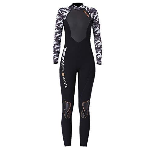 MOTOCO Damen Ganzkörperansicht Badeanzug Overall Wetsuit Surfanzug Lange Ärmel Tauchanzug - Strand Watersport UV Schutz Schwimmanzug (XL,Weiß)