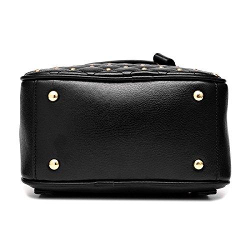 Mini Ribattini Donna Borsa In Pelle In Pelle Impermeabile Zaino Casual Daypack,DarkBlue Black