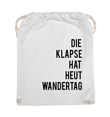 Comedy Bags - DIE KLAPSE HAT HEUT WANDERTAG - Turnbeutel - 37x46cm - Farbe: Schwarz / Pink Weiss / Schwarz
