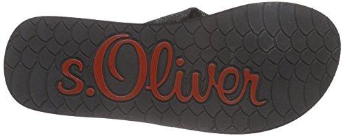 s.Oliver - 27103, Sandali infradito Donna Nero (Schwarz (BLACK/WHITE 005))