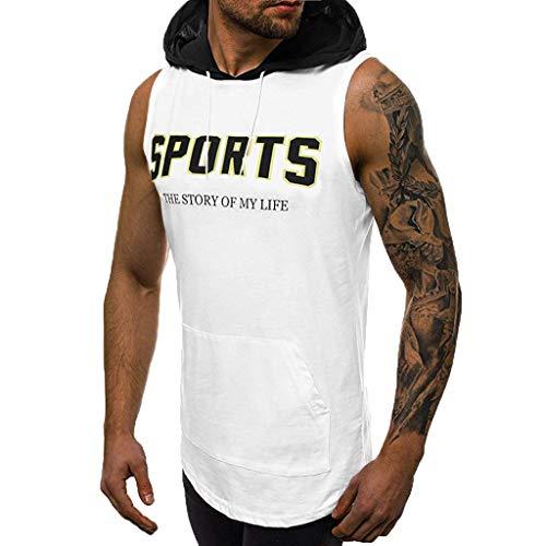 TWISFER Herren Tank Tops mit Kapuze Print Ärmellos Weste Muskelshirt Fitness Hoodie Stringer Unterhemd Für Sport Gym (Coldblack Tank)