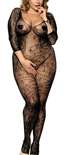 marysgift Bodystocking aus Netz - Damen Sexy Dessous - Body Catsuit, Schwarz (De3031), M = 32 34 36 38 40