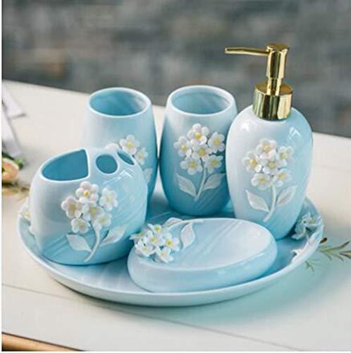 SUOVK Zahnbürstenhalter 3D Keramik Blume Bad-AccessoiresBadezimmer Set Lotion Flasche Zahnbürstenhalter Seifenkiste Trays Badezimmer Kit, 6 Stücke - Flasche Sterilisator Kit