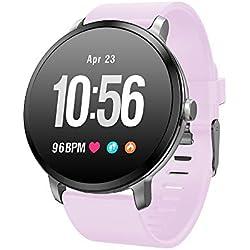 SoloKing Multifunción Reloj Inteligente con Pulsómetros,Monitor de Sueño,Podómetro,Caloría,Control de la Música Pulsera Actividad Notificación de Llamadas/SMS/Whatsapp (Purple)