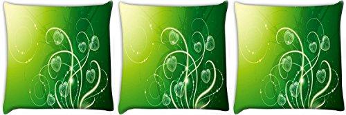 Snoogg Foglie Verdi, Confezione da 3digitale Cuscino stampato cuscini 61x 61cm