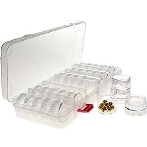Coffret Plastique transparent avec tour de rangement pour perles - (L) 27 x (l) 12 x (H) 4,5