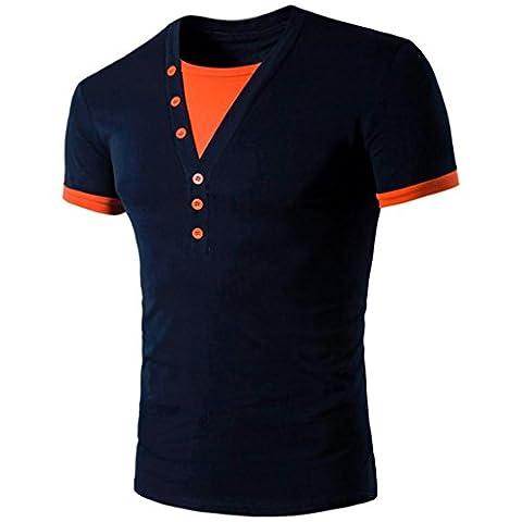 Hommes T-Shirt Manches Courtes,Overdose Basiques Tops T-Shirt à Col V Profond Avec Bouton Regular Fit (L, Navy)