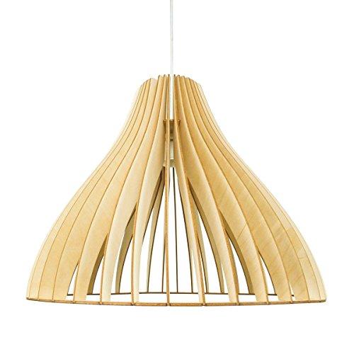 wodewa Pendelleuchte Holz I Moderne Deckenleuchte Stella Natur I Nachhaltige Deckenlampe Birkenholz Holzlampe höhenverstellbar LED E27 Hängelampe