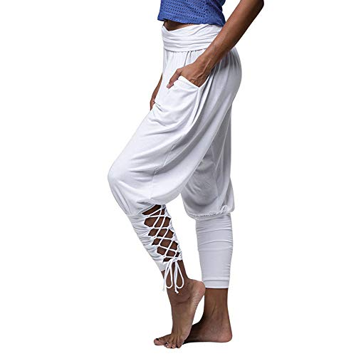 Stretch Casual Pant (Vertvie Damen Hosen Lang High Waist Stretch Lose Criss Cross aushöhlen Pumphose Haremshose Sommerhose Yogahose Casual Streetwear Pants Freizeithose mit Taschen (Weiß, EU XS/Etikettengröße S))