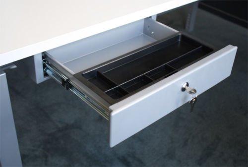 Schreibtisch Unterbau Schublade - Hängeschublade aus Stahl - Abschließbar -