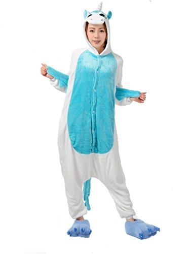 LATH.Pin® Jumpsuit Unisex animale cartone Carnevale costumi di Halloween Jumpsuit tuta pigiama in pile pigiama adulti Lounge Einhorn blau S