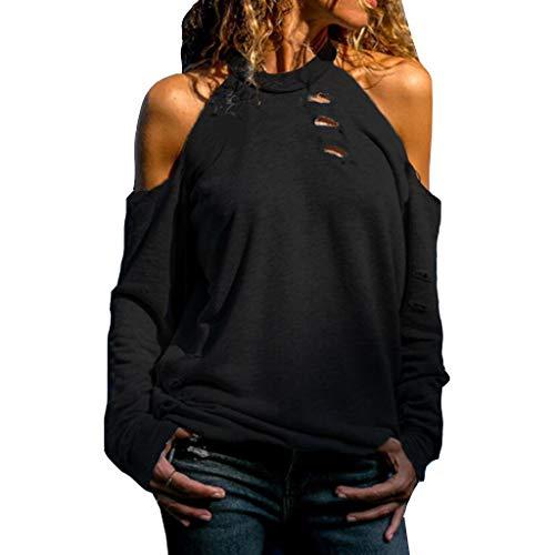 Oksea Sexy Schulterfrei Oberteil Damen Oberteile Elegant Bluse Damen Sexy Schulterfrei Herbst Langarmshirt Casual T-Shirt Hohlloch einfarbig Oben