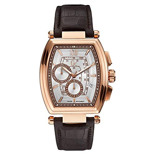 c03b272c22 GUESS COLLECTION - Montre Homme Guess Collection GC Retrao Class Y01003G1  Bracelet Cuir Marron - Y01003G1