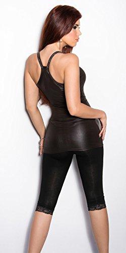 FASHION BOUTIK top debardeur KOUCLA aspect brillant simili cuir et strass femme sexy TU 34 36 38 Marron