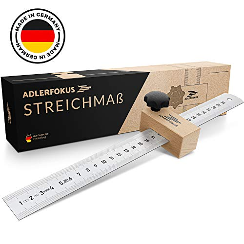 Adlerfokus Streichmaß [EG-1] Made in Germany Anschlaglineal - Anreisswerkzeug mit extra stabilem INOX Lineal - Streichmaß Metall mit Anschlag aus Buchenholz