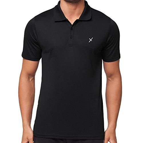 CFLEX Men Sportswear Collection - Herren Funktion Sport Kleidung - Fitness Quickdry Polo-Shirt & Fitness Sport Top Schwarz Größe L