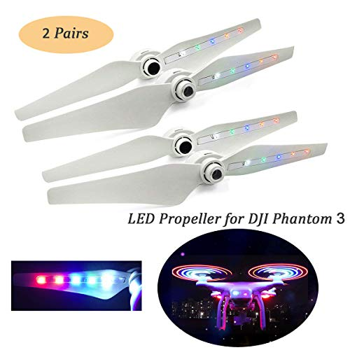 Phantom 3 Propeller Props Rechargeable Flash LED Hélices pour DJI Phantom 3 Standard / Pro / Advanced / Phantom 3 SE / WIFI 4K Hélices Lames 2 Paires