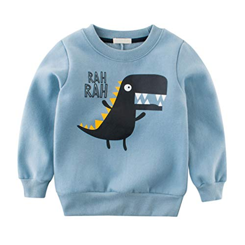 Reciy Jungen Sweatshirt Langarm Pullover Baumwolle T-Shirt Kinder Langarmshirts 2-8 Jahre Blau Dinosaurier 90