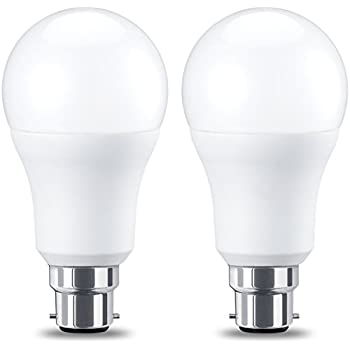 AmazonBasics Bombilla LED B22, 10.5W (equivalente a 75W), Blanco Cálido, no regulable- 2 unidades