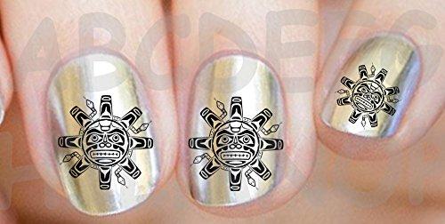 Aws set water decals sole maya nero tribale stile maya atzechi maori unghie nail art adesivi stickers transfer decorazione black native style tribal tattoo tatuaggio sun (100)