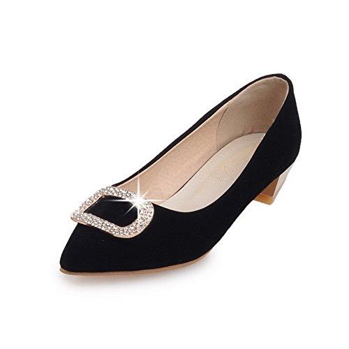 VogueZone009 Femme Tire Fermeture D'Orteil Pointu à Talon Bas Dépolissement Chaussures Légeres Noir