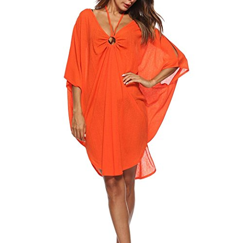 ach Strickjacke, Frauen Baden Vertuschen Bikini Badeanzug Bademode Crochet Smock Beach Vertuschen Beach Poncho Cardigan Bikini Cover up Kimono Cardigan (Free, Orange) (Kinder Badeanzug Cover Up)