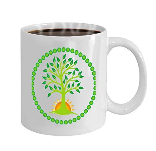 Custom Coffee Mug 11 Oz Ceramic Gifts Tea Cup tree life rising sun center mandala tree life risin -