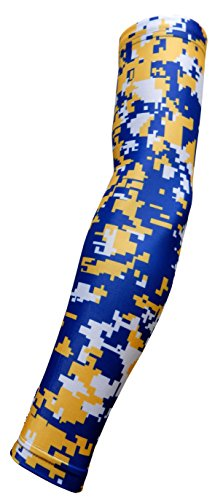 New. Royal Blau Gelb Weiß Digital Camo Arm Sleeve - Feuchtigkeitstransport Kompression, Royal Blue Yellow White Digital Camo -