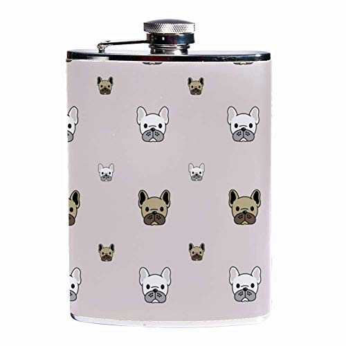 Leak Proof Liquor Hip Flask 7.6 oz Flagon Mug Leather Cover with Dress Up Doggie print Pocket Container for Discrete Shot Drinking of Whiskey Alcohol Liquor