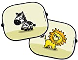 Auto Sonnenschutz Set - 2 Stück - Löwe und Zebra - Sonnenblende Schattenspender Baby Kinder thumbnail