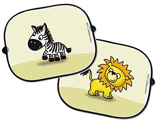 Niedlich, Sonne-schatten, Auto, (Auto Sonnenschutz Set - 2 Stück - Löwe und Zebra - Sonnenblende Schattenspender Baby Kinder)