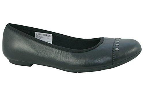 Clarks Tizz Dot Bootleg Mädchenschule Slipper Schuh aus schwarzem Leder Black Leather 6½ F