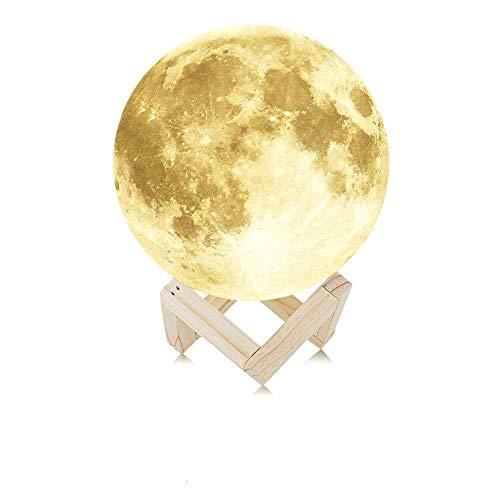 NEWBEN 3D Druck Mond LED Nachtlicht Magical Moonlight Schreibtischlampe mit USB Wiederaufladbar und Holzhalter Ideal für Geschenk Home Decoration Weihnachten Baby Nacht Licht Durchmesser(12CM)