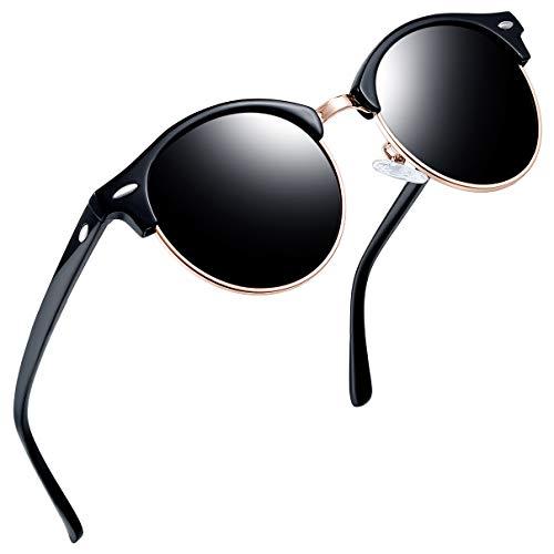 Joopin Halbrahmen Polarlicht Sonnenbrille Frauen Männer Männer Brand Vintage Gläser Polaroid Lens Sonnenbrille(Glänzendes Schwarz)