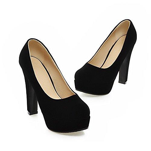 AllhqFashion Femme Couleur Unie Dépolissement Tire Rond Chaussures Légeres Noir