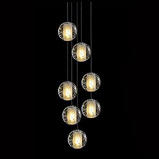 KJLARS moderne Luxus Pendeleuchte Pendellampe Hängeleuchte Hängelampe chromfarbig Höherverstellbar Deckenlampe Dekorative leuchte Innenleuchte Innenlampe mit 7-flammig Kristall-Kugel mit der Fassung G4 LED.