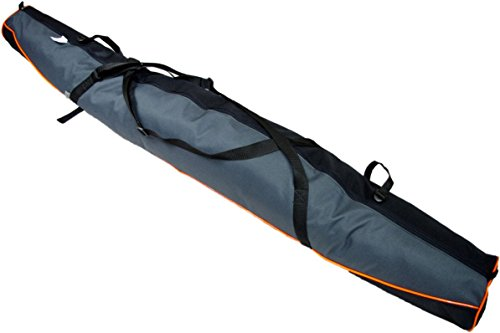 Aves24 SKITASCHE Skisack 150 160 170 180 und 190 cm für Ski mit Stöcke mit/ohne Skischuhtasche reißfeste Skibag (150cm, GRAU mit Schuhtasche)