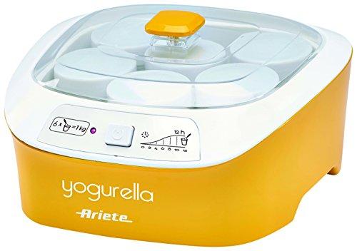 Ariete 626-Yogurtiera, 20 W, capacità 1 litro, per 6 barattoli, luce spia luminosa, colore: bianco/giallo