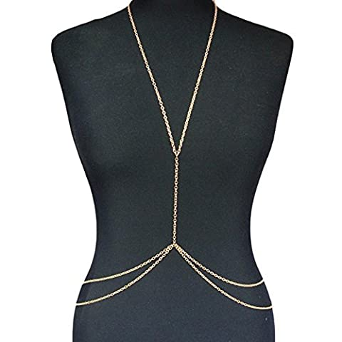 oumosi Sexy Body Bauch Taille Kette Bikini Beach Harness Halskette Gold Silber