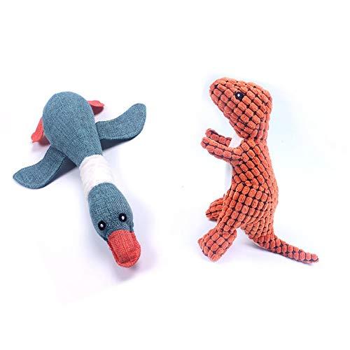 huglove Hundespielzeug mit Quietschelement, Ente und Dinosaurier, lustiges Plüschspielzeug für mittelgroße und große Hunde, 2 in 1 Packung