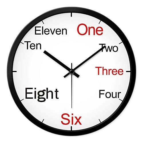 BAIF Englischsprachige Zahlwörter der Persönlichkeit englische Uhrklassenzimmer-Schuluhr 12 Zoll schwarzer Stiftweißrahmen