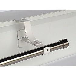2 supports sans perçage GEKO pour tringle à rideaux diamètre 28 mm - Spécial caisson de volet roulant à rainure - Colori : Blanc