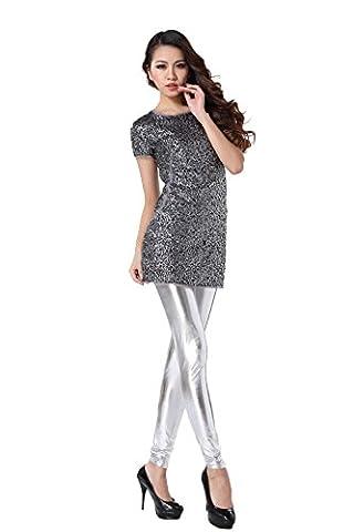 JNTworld Damen Frauen sexy Wet-Look glänzen/ glänzend Enge flüssige metallische faux Leder mit hoher Taille Bund Leggings Jeggings Petite Hoch , S , Glänzendes
