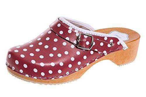 FUTURO FASHION® - Zuecos de Cuero auténtico con Suela de Madera - para Mujer - Colores Lisos Unisex - Tallas 36-42 - Rojo/Lunares Blancos - 40 EU