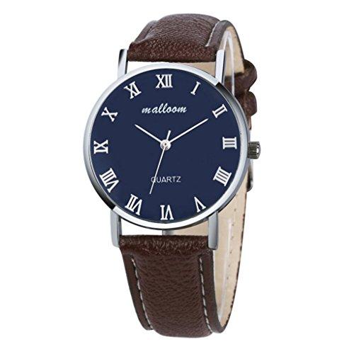 Herrenuhren Mens Watches,Kingwo Mode Männer und Frauen Luxus Faux Leder Quarz Analog Uhrenarmband Armbanduhr (B)