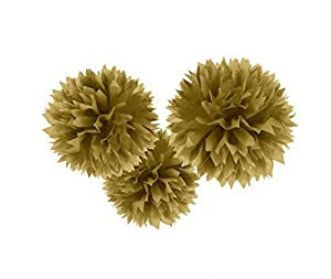 Amscan International - 18055 - 19 - 55 40 cm oro Fluffy Pom Pom Decoración Kit