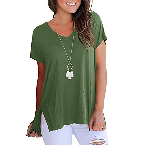 WhiFan Damen T-Shirt Bluse Schulterfrei Batwing Weit Oberteil Tops T-Shirt Sommerbluse (M:36/38, C Olive Drab) -