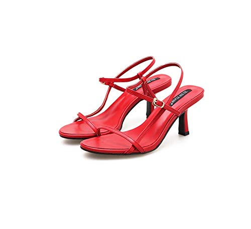 GHFJDO Damen Knöchel Schnalle Riemchen Sandalen, Sommer Mitte Block Heels Peep Toe Patent Freizeitschuhe Größe,Red,39EU Patent T-strap Pump